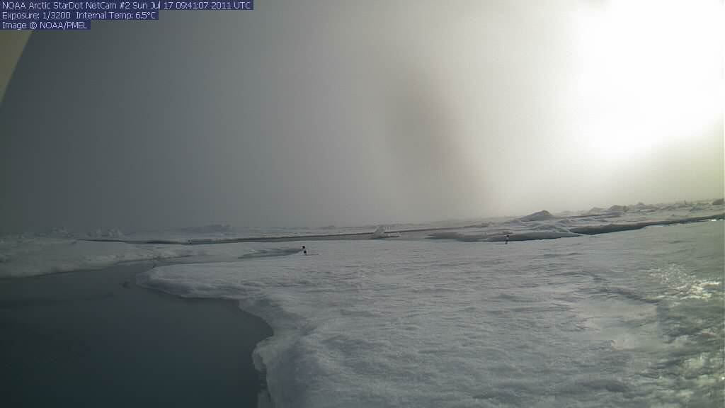 North Pole Cam 2 Seems to be sitting, possibly, in water.